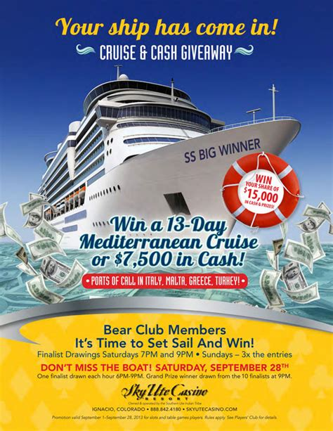 Casino Cash Giveaway - sky ute casino resort 3x entries cruise cash giveaway