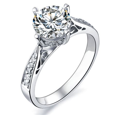 White Gold Engagement Rings by 1 Carat Certified Engagement Ring On 9ct White
