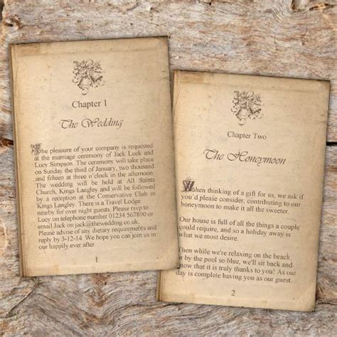 Book Themed Wedding Invitations