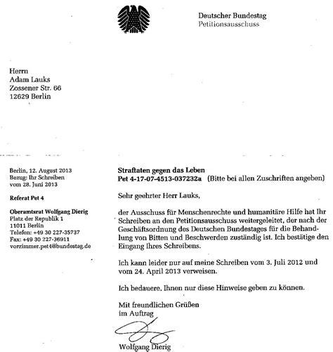 Beschwerde Brief Antwort Oktober 2013 Adamlauks