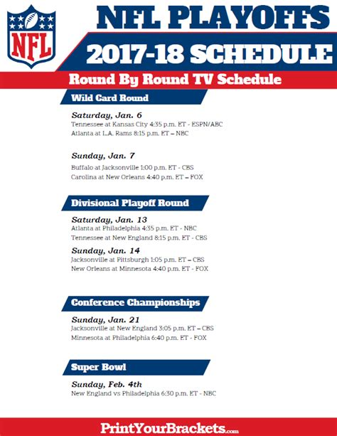 printable nfl schedule 2017 2017 nfl playoffs tv schedule printable single double