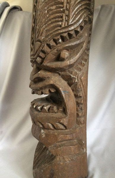 authentic vintage hawaii wood tiki statue hand carved