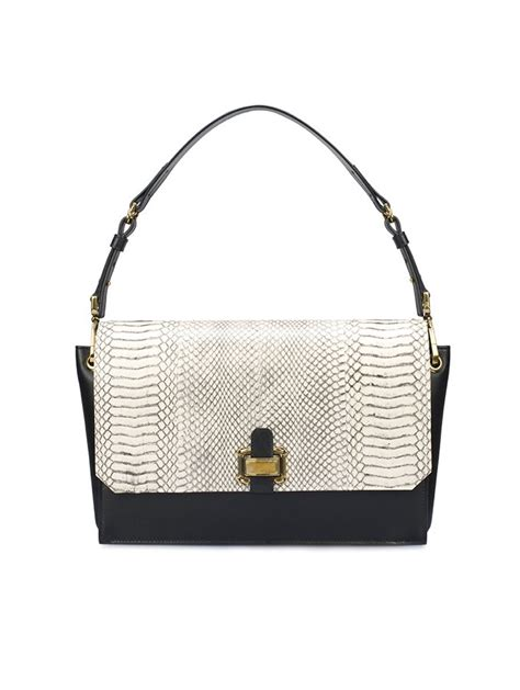 Other Designers Purse Deal Oscar De La Renta Tortoise Python Clutches by Oscar De La Renta Clara Shoulder Bag In Black Gold Lyst