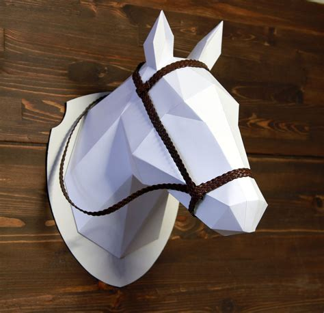 2d horse head template diy polygonal paper sellfy com