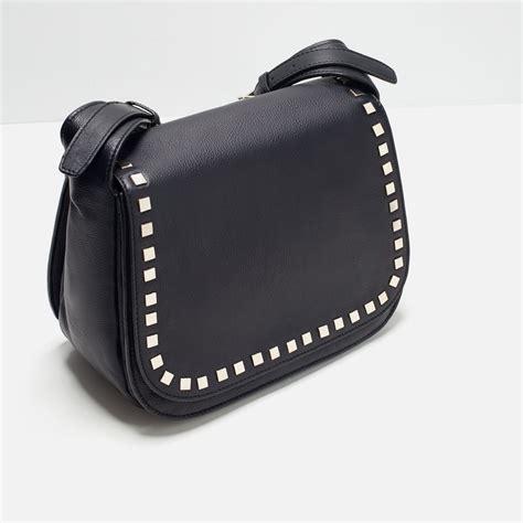 Leather Studded Zara Studded Leather Messenger Bag In Black Lyst