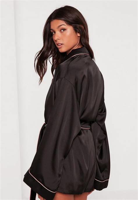 Hitam Black Model Kimono black kimono piping detail silk robe missguided
