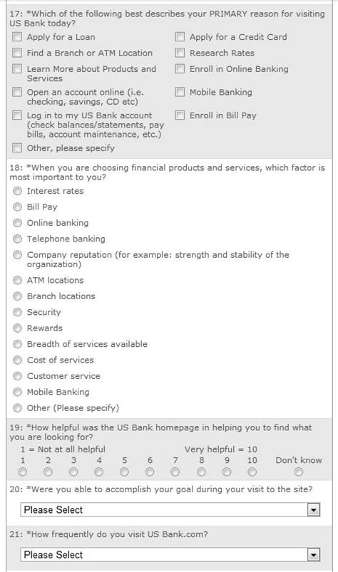 Website Survey - website usability survey questions from us bank