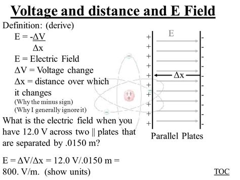 electric field capacitor distance voltage and electric field ppt
