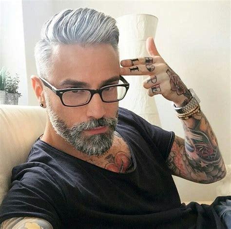 grey hair and beard and tattoos men pinterest beards pinterest pureher0ine hair and beard inspiration