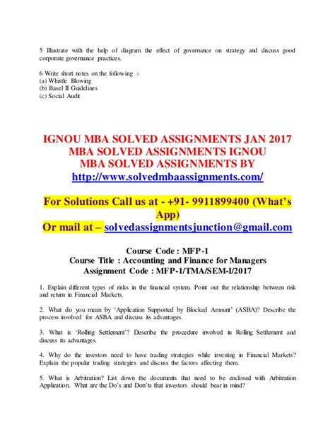 Mba Corporate Governance Assignment by Ignou Mba Solved Assignments 2017