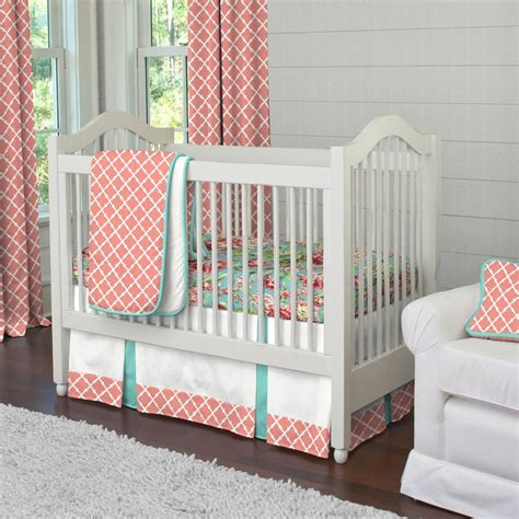 Light Coral And Teal Lattice 3 Piece Crib Bedding Set Coral And Teal Crib Bedding