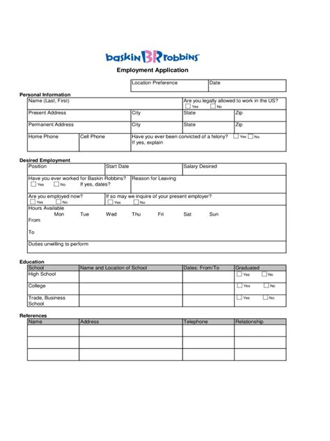 chicken express printable job application baskin robbins employment application form edit fill