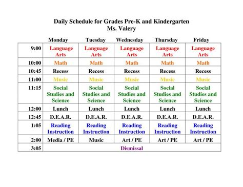 kindergarten timetable template 15 best images about day k on pacing