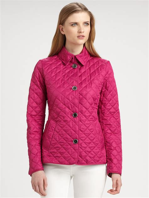 burberry brit quilted trench jacket in pink lyst