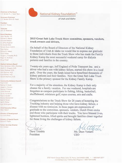 Thank You Letter For Kidney Donation The Great Salt Lake Truck Show Kidney K