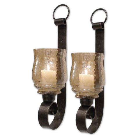 Small Wall Sconces Joselyn Small Wall Sconces Set Of Two Uttermost Candleholders Candle Holders Home Decor