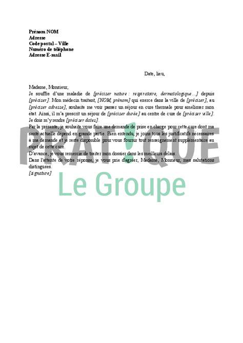 Exemple De Lettre Securite Sociale lettre de demande de prise en charge de cure thermale par la s 233 curit 233 sociale pratique fr