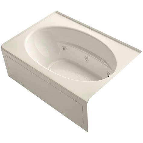 almond bathtub kohler villager 5 ft right hand drain cast iron bathtub in almond k 716 47 the home