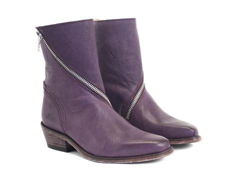 fluevog boots fluevog shoes shop skin purple spiral zip leather boot