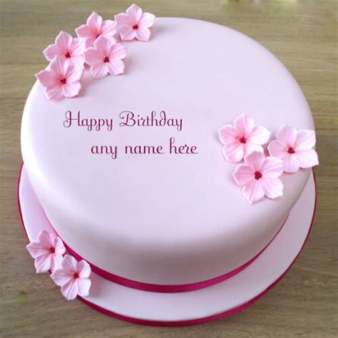 write   beautiful pink flowers birthday cake photo