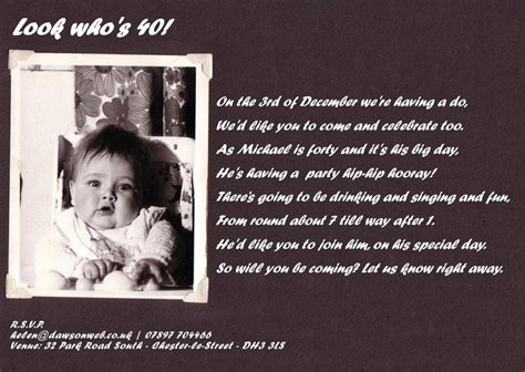 40th birthday invitation exle 40th birthday invitation wording baby shower for
