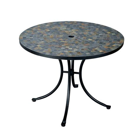 Home Styles Stone Harbor 51 In Round Slate Tile Top Patio Tile Top Patio Table