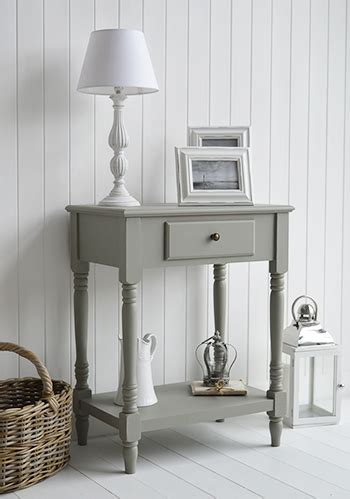 charleston grey small console table  drawer  shelf