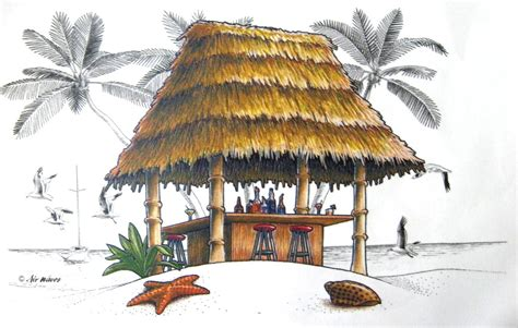 the gallery for gt tiki bar sign clipart - Tiki Hut Drawing