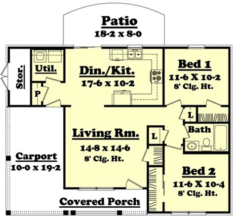 900 sq ft traditional style house plan 2 beds 1 baths 900 sq ft