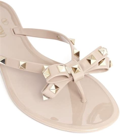 studded jelly sandals valentino studded bow flat jelly sandals in beige neutral