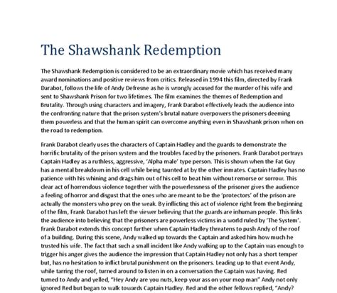 Shawshank Redemption Essay Techniques by Shawshank Redemption Essay Introduction The Shawshank Redemption Review Marked By Teachers