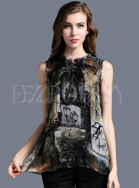 Sleeveless Print T Shirt tops t shirts pullover sleeveless print t shirt