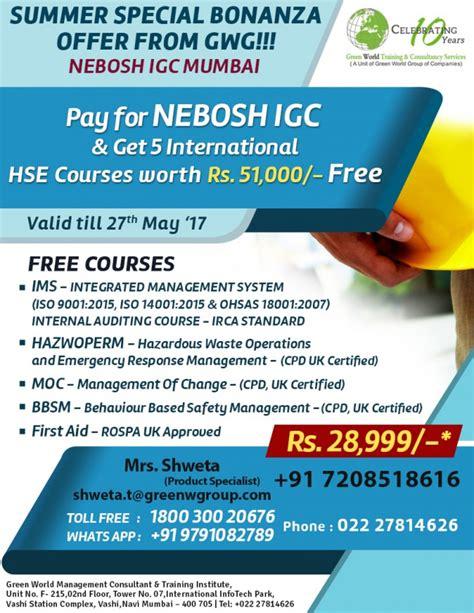 Offering Dating Course by Nebosh Igc In Mumbai Free Iosh Ms 31000