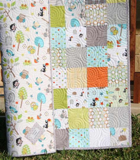 Jungle Quilt by Jungle Quilt Baby Boy Blanket Forest Animals By