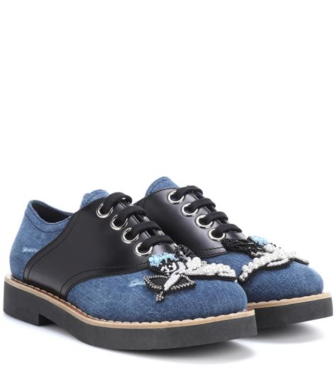 topshop oxford shoes lyst miu miu embellished denim oxford shoes in blue