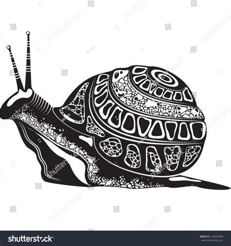 Kemeja Black Abstract White Snail vector illustration totem animal snail stock vector