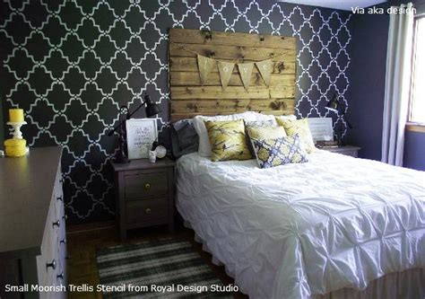 bedroom stencils stenciled feature wall idea for rustic chic design royal