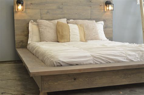 floating wood platform bed frame  lighted