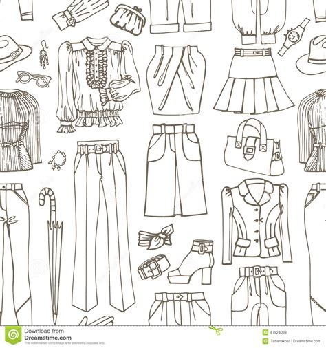 black and white pattern on clothes outline sketchy females clothing accessories stock vector