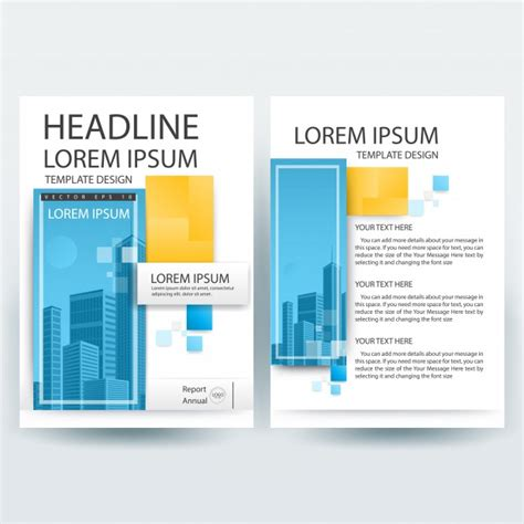 yellow business brochure template with geometric shapes business brochure template with blue and yellow geometric