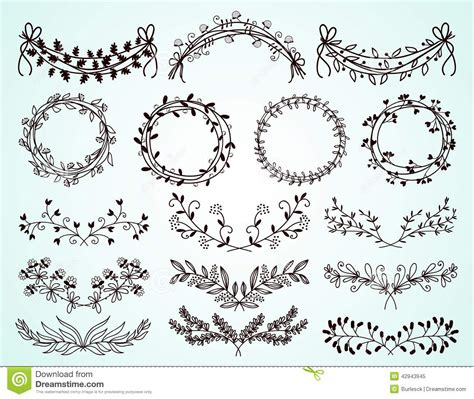 decorative drawing borders set of hand drawn floral borders and wreaths stock vector