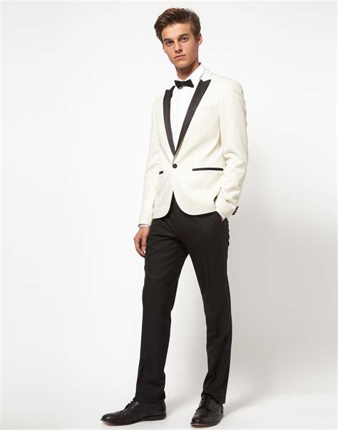 19642 White Black Suit asos asos slim fit tuxedo suit jacket in white in white for lyst