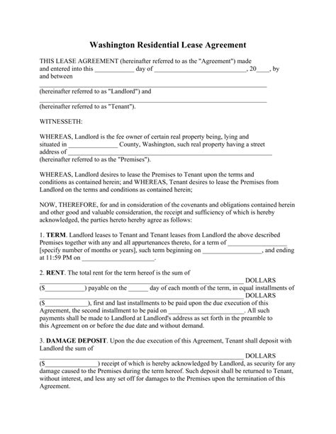rental agreement template washington state free washington standard residential lease agreement