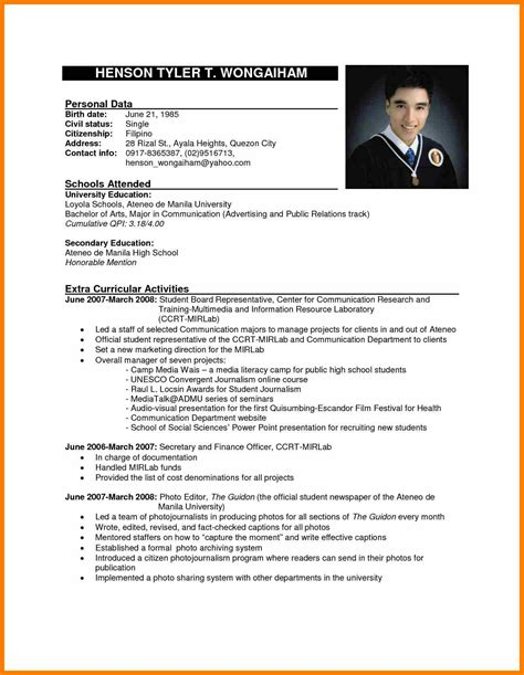 Resume Template Philippines 5 resume template philippines science resume