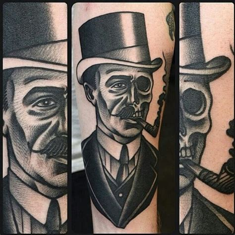rockstar tattoo designs gentleman skull ideas