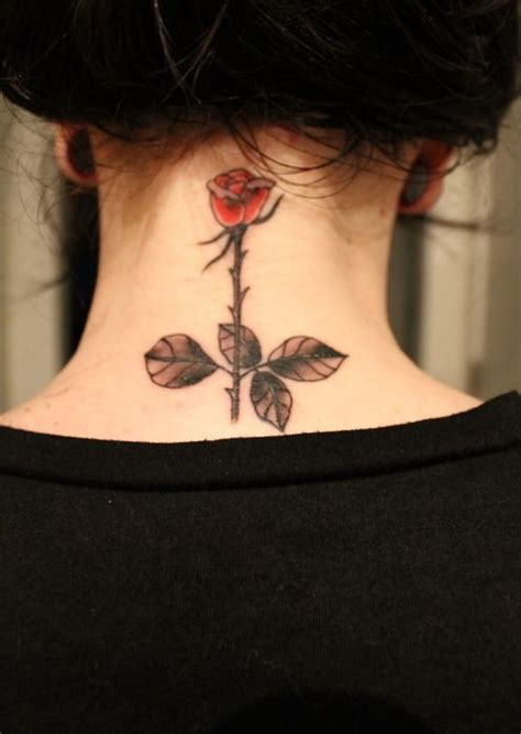 tattoo behind the neck nape behind the neck tattoo rose looks good here