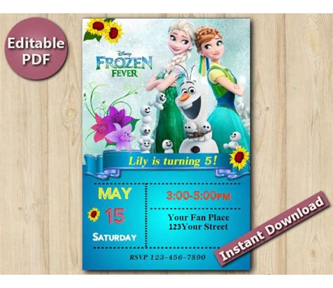 frozen printable editable invitations frozen fever editable invitation with back 4x6 quot ed300