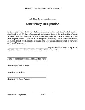 Waiver Form Template For Sports Fillable Printable Sles For Pdf Word Pdffiller Beneficiary Designation Template