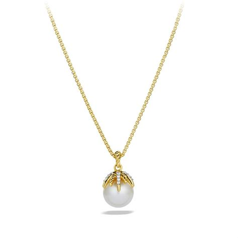 david yurman starburst pearl pendant with diamonds in gold