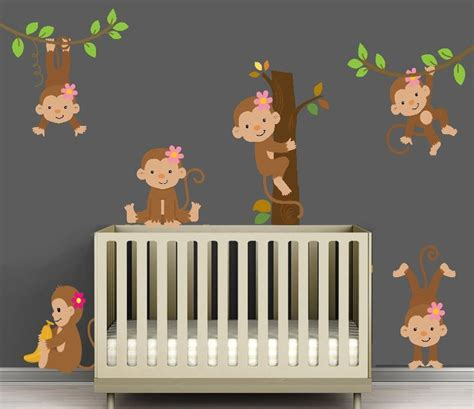 Monkey Decorations For Nursery Fabric Decal Monkey Set For A Monkey Themed Nursery Or Your
